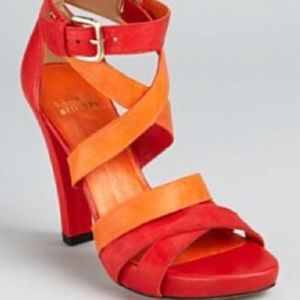 Stuart Weitzman Red Orange strappy heels